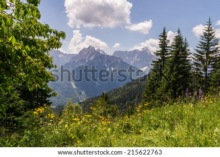Southwards view from Mt. Dreilaendereck at the border of Austria, Italy and Slovenia towards Slovenia - stock photo