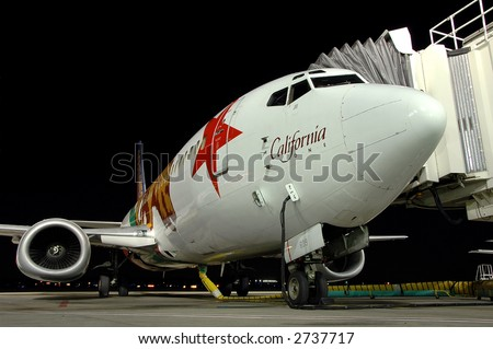Southwest Airlines airplane, California One at gate - stock photo
