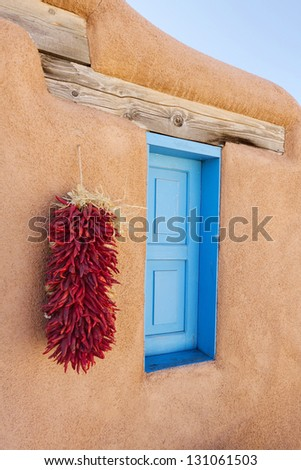 Southwestern Adobe Window - stock photo