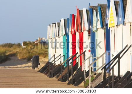 southwold beach huts by the beach at dawn - stock photo