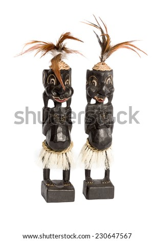 Souvenir carved ebony sculpture african man and woman isolated on white background - stock photo