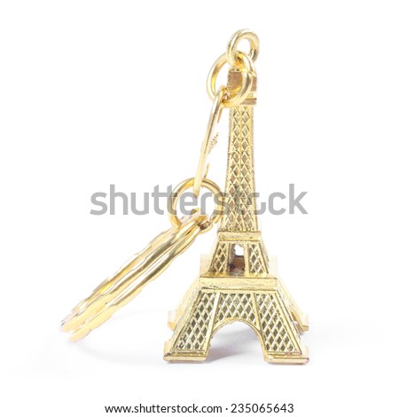Souvenir key chain of mini eiffel tower from Paris, France - stock photo