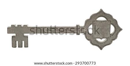 souvenir metal key isolated on a white background - stock photo