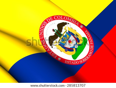 Sovereign State of Panama, 1863-1886 (Colombia) Flag. Close Up. - stock photo