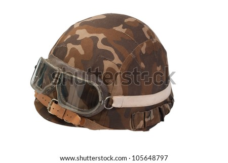 soviet army mechanized infantry camouflaged helmet with goggles isolated on white - stock photo