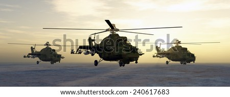 Soviet attack helicopters of the cold war Computer generated 3D illustration - stock photo