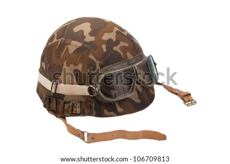 soviet camouflaged helmet with goggles isolated on white - stock photo
