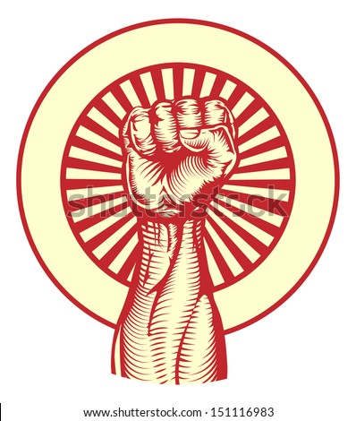 Soviet cold war propaganda poster style revolution fist raised in the air - stock photo