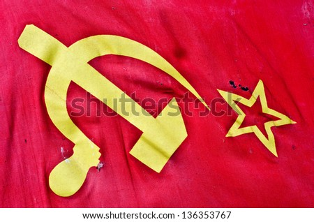 soviet flag as a background - stock photo