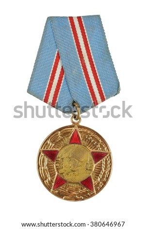 Soviet medal for participation in the Second World War - stock photo