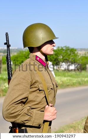 Soviet soldiers. Veteran of the Second World War - stock photo