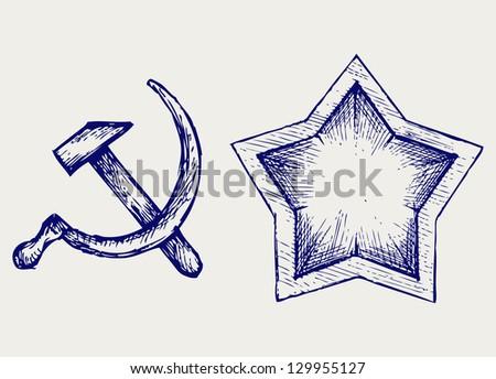 Soviet star icon. Doodle style. Raster version - stock photo