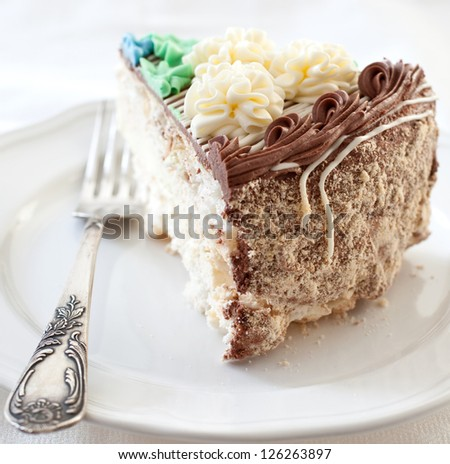 Soviet style cake with colorful icing - stock photo