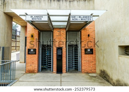 Soweto - South Africa, Jan 30: Apartheid museum pictured on January 30th, 2015 in Johannesburg ,South Africa.  SOWETO is the most populous urban area in the country, with a population of a million. - stock photo