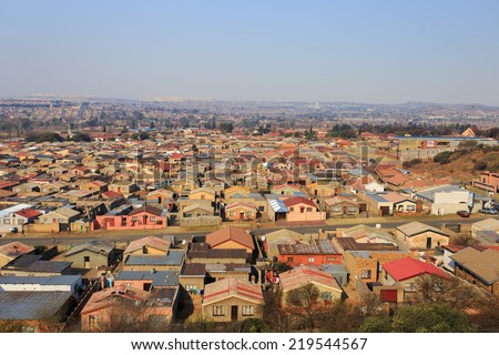Soweto - South West Township in Johannesburg ,South Africa. SOWETO is the most populous black urban residential area in the country, with a population of around a million - stock photo