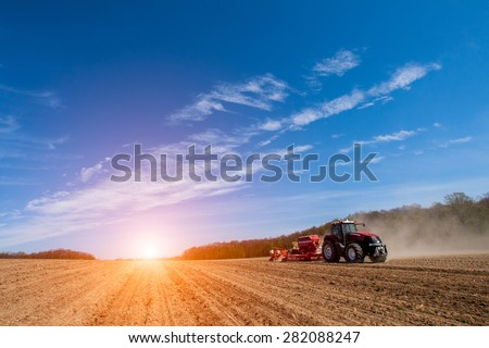 Sowing and plowing action in the spring season - stock photo