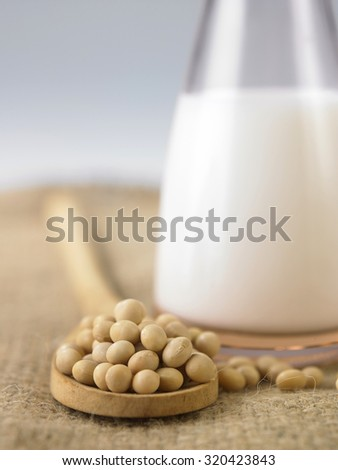 soy bean and jar of the soy milk by the side - stock photo