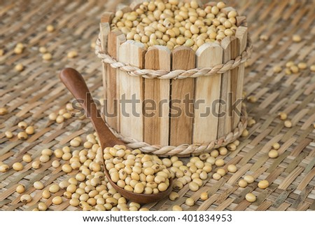 Soy bean beans on wooden spoon - stock photo