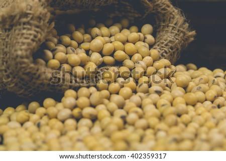 Soy bean. Retro filter - stock photo