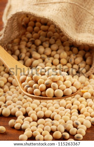 Soy beans  on a wood spoon - stock photo