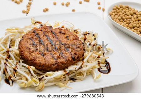 Soy burger, close-up - stock photo