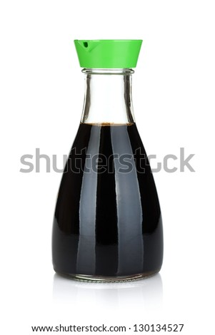 Soy sauce bottle. Isolated on white background - stock photo