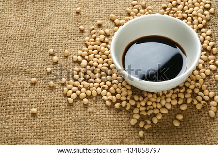 Soy sauce ,Soya, and soybean - stock photo