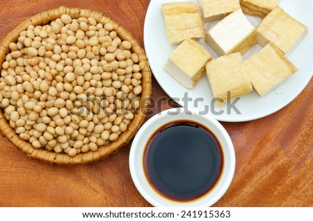 Soybean name Glycine max, Fabaceae family, rich protein, acid amino, vitamin, an organic, cheap, nutrition product, to process soy-milk, soy sauce, tofu, cooking oil, suitable for diet menu - stock photo