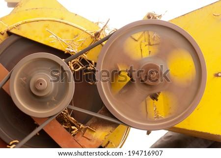 soybean small harvesting machine closeup, Maharashtra, India, South east Asia - stock photo