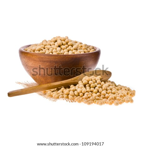 Soybeans on wooden spoon and in a wooden bowl isolated on a white background. - stock photo