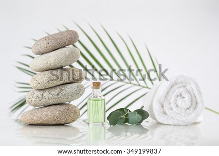 spa accessories and  zen stones - stock photo