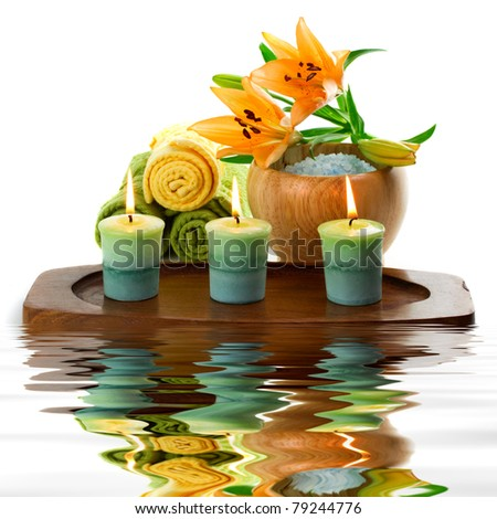 Spa accessories with water reflection - stock photo
