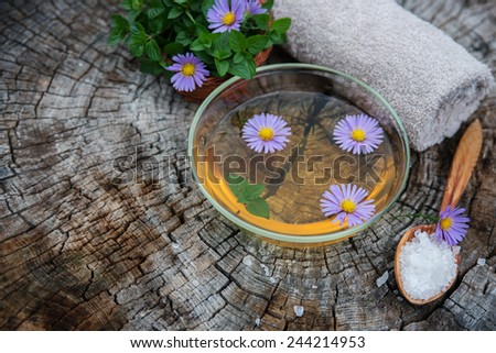 Spa and wellness setting. Manicure ans pedicure. Set with sea salt, essence, flowers fresh mint and towels. Relax and treatment therapy. Selective focus. Close up. - stock photo