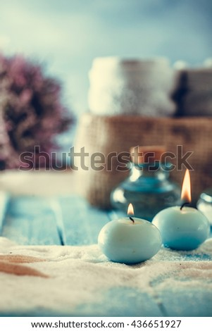 Spa and wellness setting with flowers and towels. Dayspa nature products - stock photo