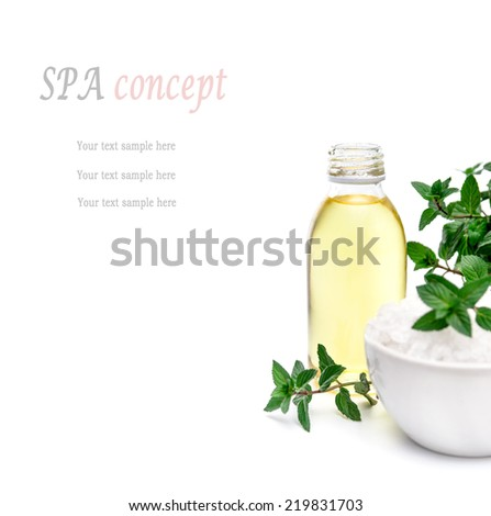 Spa and wellness setting with white sea salt, oil essence, peppermint  isolated with place for text. Relax and treatment therapy. White background. Selective focus. Close up. - stock photo