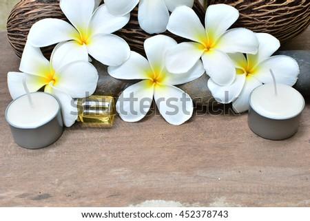 spa aroma background with frangipani - stock photo