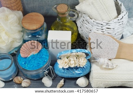Spa - Aromatic soap, scented bath salt, and oil, and accessories for massage and bath - stock photo