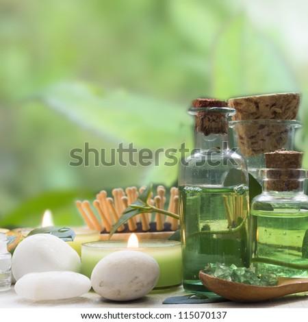 spa arrangement in green - stock photo