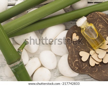 spa arrangement with bamboo - stock photo