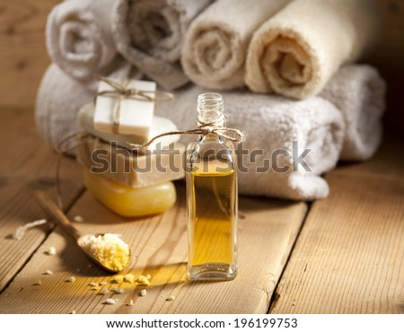 Spa background in the range of brown and yellow. - stock photo