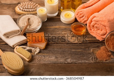 spa background with candles - stock photo
