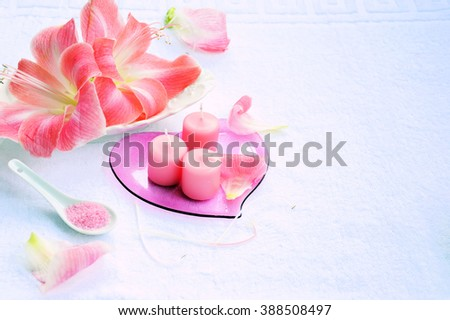 Spa background with flowers and candles, organic products .zen attitude - stock photo