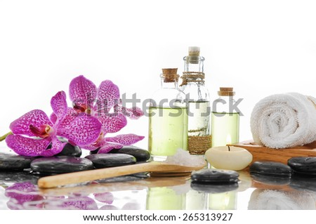 Spa Background with massage oil with spa set - stock photo