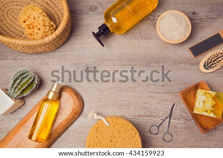 Spa background with soup and oil. View from above. Flat lay - stock photo