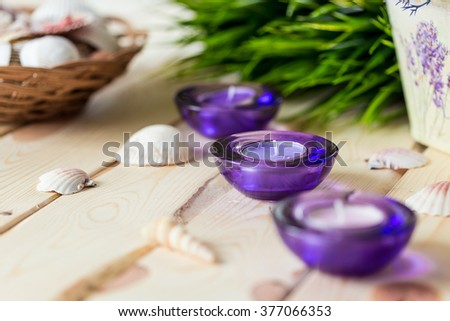 Spa Baleo Relax Set, Aromatic Candles in Purple Glass Candlesticks, Green Grass and Shells on Light Wooden Background, Horizontal - stock photo