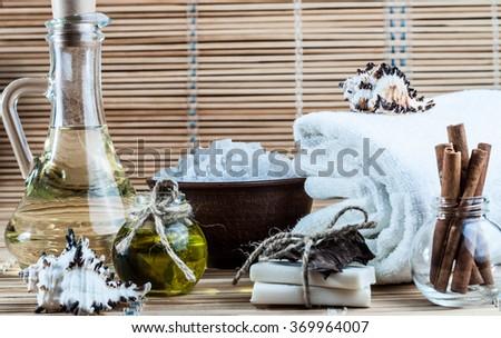 spa, bath salt, oil, cinnamon, handmade soap - stock photo