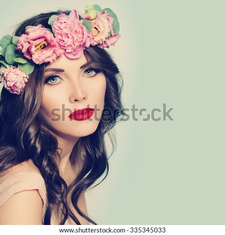 Spa Beauty. Woman. Healthy Skin and Hair. Natural Makeup - stock photo