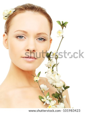 Spa beauty - woman with blossom - stock photo