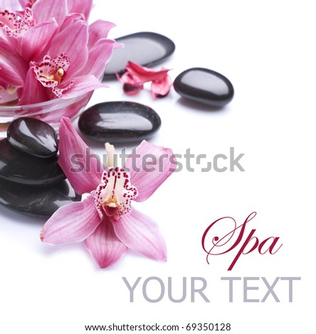 Spa border.Stones and Orchid flowers - stock photo