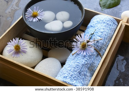 Spa bowl and stones - stock photo